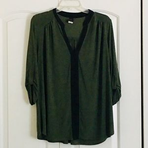 Olive Green Three Quarter-sleeved Blouse